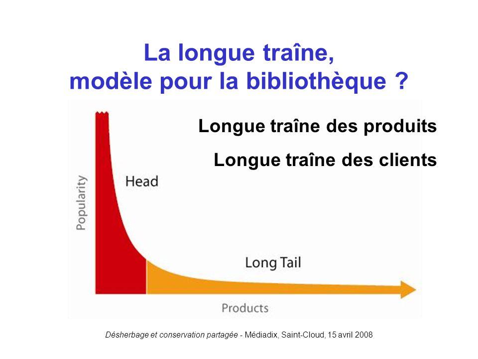 Désherbage et conservation partagée - Médiadix, Saint-Cloud, 15 avril 2008 La longue traîne, modèle pour la bibliothèque ? Longue traîne des produits