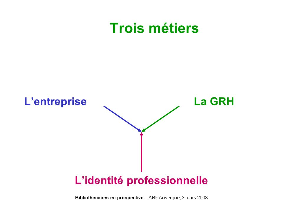 Bibliothécaires en prospective – ABF Auvergne, 3 mars 2008 Lentreprise La GRH Lidentité professionnelle Trois métiers