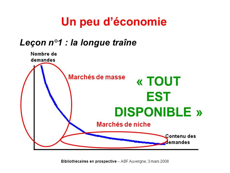 Bibliothécaires en prospective – ABF Auvergne, 3 mars 2008 Un peu déconomie Leçon n°1 : la longue traîne Marchés de masse Marchés de niche « TOUT EST