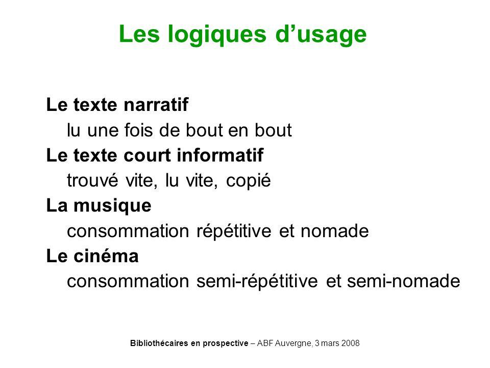 Bibliothécaires en prospective – ABF Auvergne, 3 mars 2008 Les logiques dusage Le texte narratif lu une fois de bout en bout Le texte court informatif