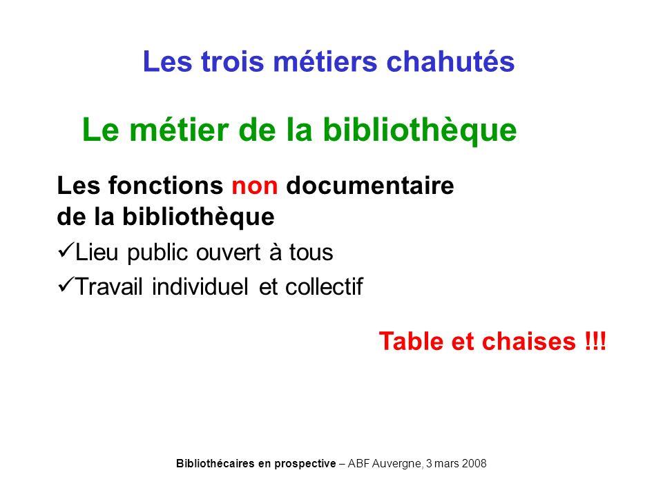 Bibliothécaires en prospective – ABF Auvergne, 3 mars 2008 Les trois métiers chahutés Le métier de la bibliothèque Les fonctions non documentaire de l