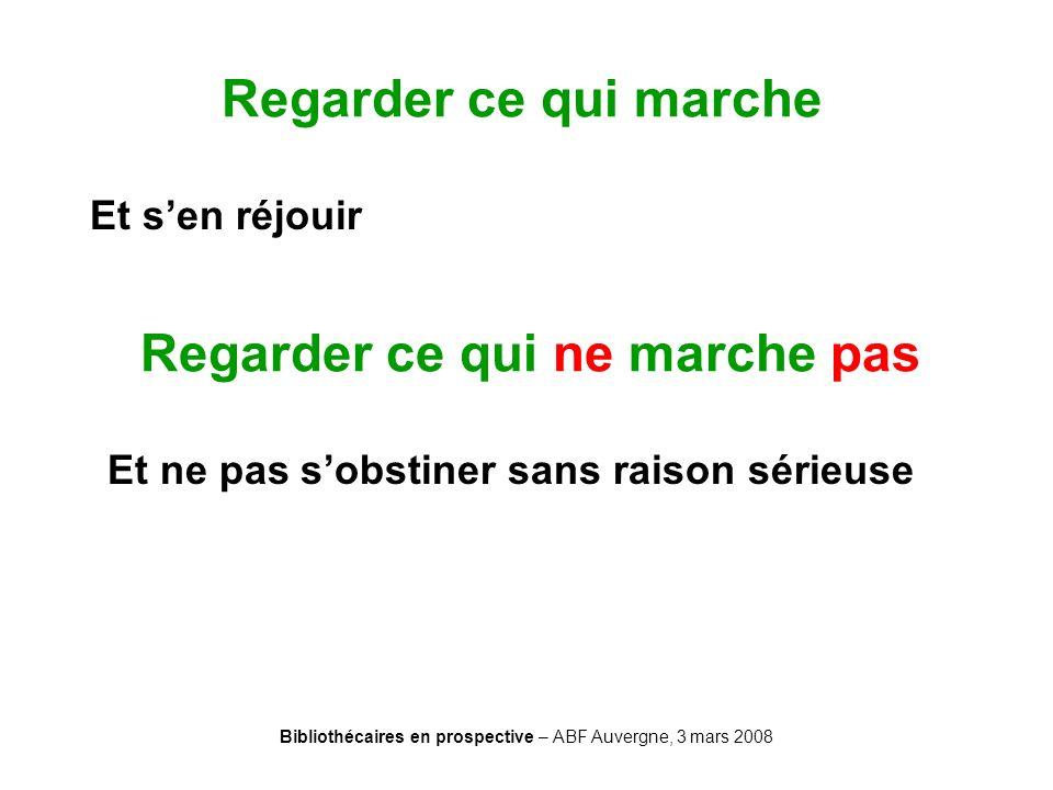 Bibliothécaires en prospective – ABF Auvergne, 3 mars 2008 Regarder ce qui marche Et sen réjouir Regarder ce qui ne marche pas Et ne pas sobstiner san