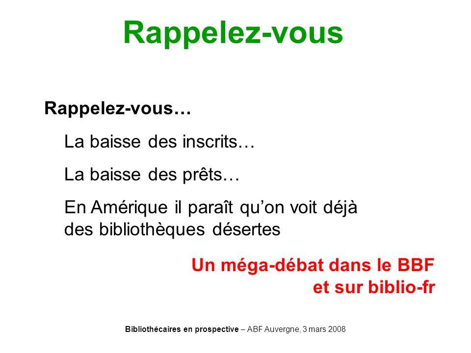 Bibliothécaires en prospective – ABF Auvergne, 3 mars 2008 Rappelez-vous Rappelez-vous… La baisse des inscrits… La baisse des prêts… En Amérique il pa