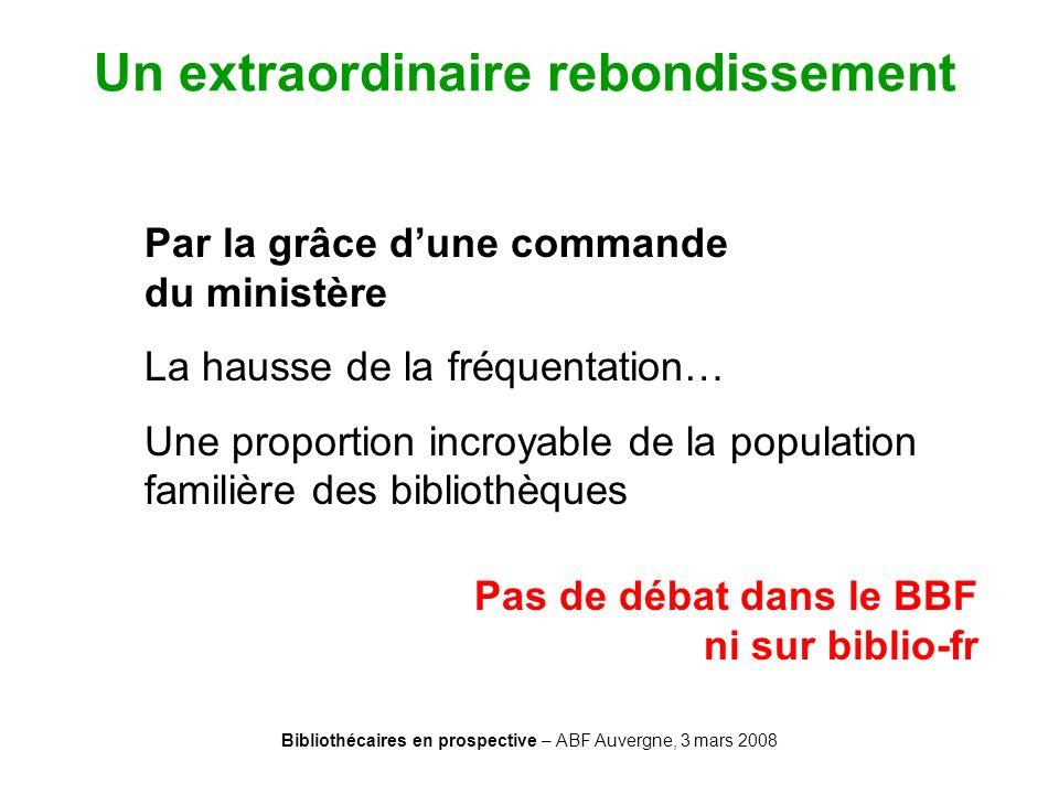 Bibliothécaires en prospective – ABF Auvergne, 3 mars 2008 Un extraordinaire rebondissement Par la grâce dune commande du ministère La hausse de la fr