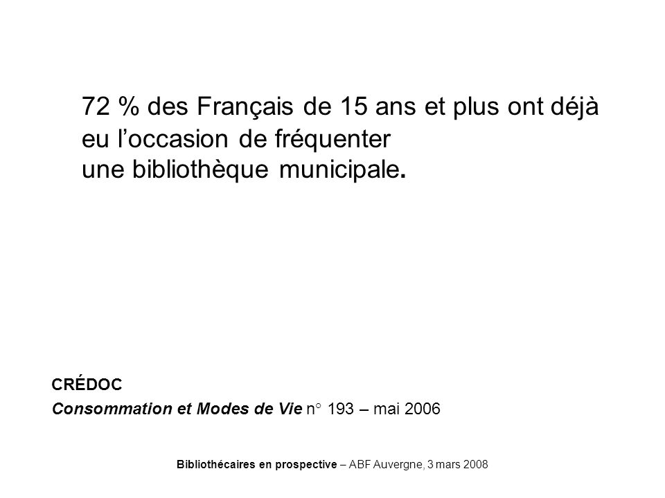 Bibliothécaires en prospective – ABF Auvergne, 3 mars 2008 CREDOC 72 % des Français de 15 ans et plus ont déjà eu loccasion de fréquenter une biblioth