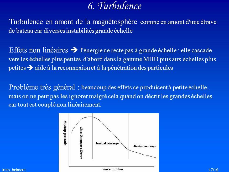 intro_belmont17/19 6. Turbulence Turbulence en amont de la magnétosphère comme en amont d'une étrave de bateau car diverses instabilités grande échell