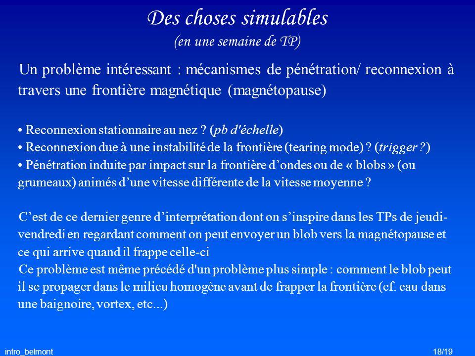 intro_belmont18/19 Des choses simulables (en une semaine de TP) Un problème intéressant : mécanismes de pénétration/ reconnexion à travers une frontiè