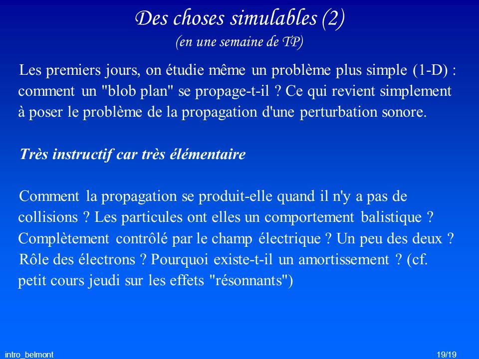 intro_belmont19/19 Des choses simulables (2) (en une semaine de TP) Les premiers jours, on étudie même un problème plus simple (1-D) : comment un