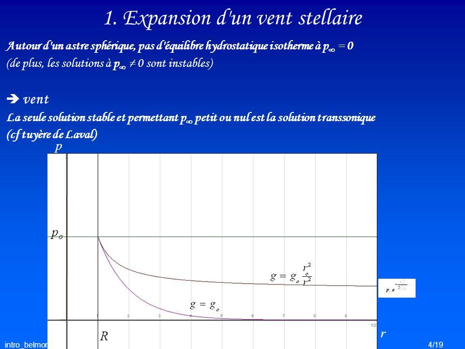 intro_belmont4/19 1. Expansion d'un vent stellaire Autour d'un astre sphérique, pas d'équilibre hydrostatique isotherme à p = 0 (de plus, les solution