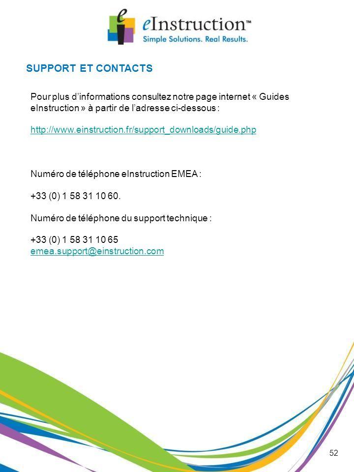 SUPPORT ET CONTACTS Pour plus dinformations consultez notre page internet « Guides eInstruction » à partir de ladresse ci-dessous : http://www.einstru