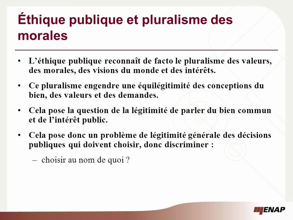 Éthique publique et pluralisme des morales Léthique publique reconnaît de facto le pluralisme des valeurs, des morales, des visions du monde et des intérêts.