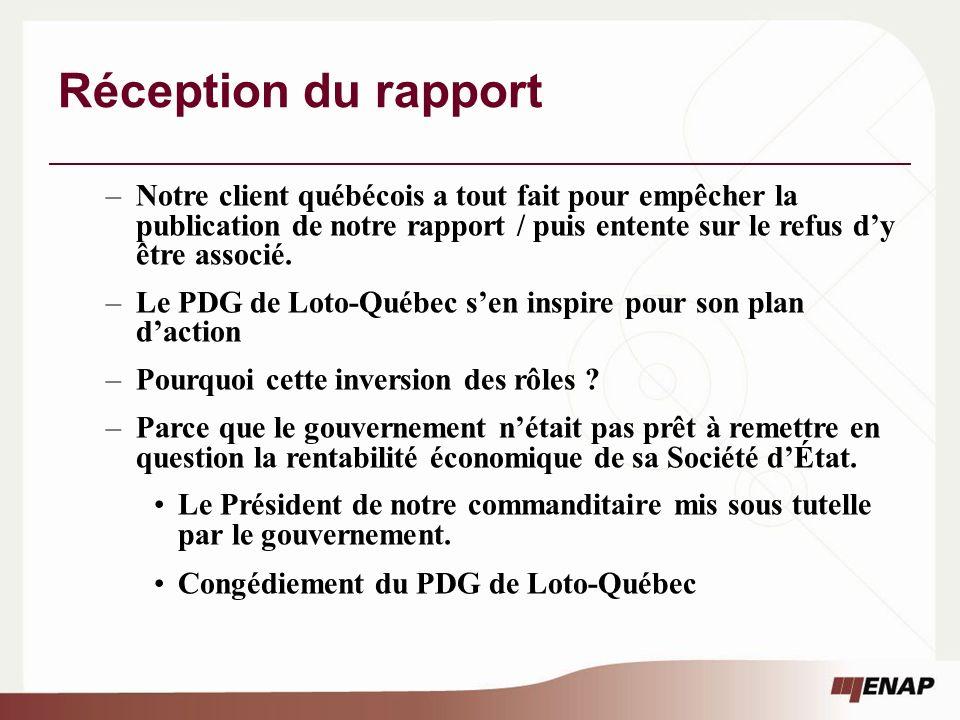 Réception du rapport –Notre client québécois a tout fait pour empêcher la publication de notre rapport / puis entente sur le refus dy être associé.