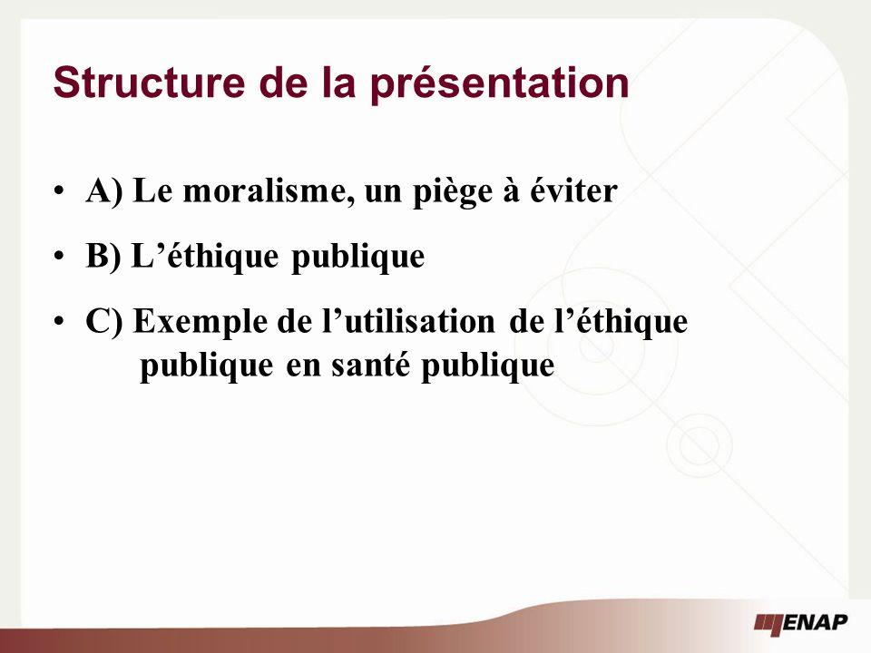 Structure de la présentation A) Le moralisme, un piège à éviter B) Léthique publique C) Exemple de lutilisation de léthique publique en santé publique