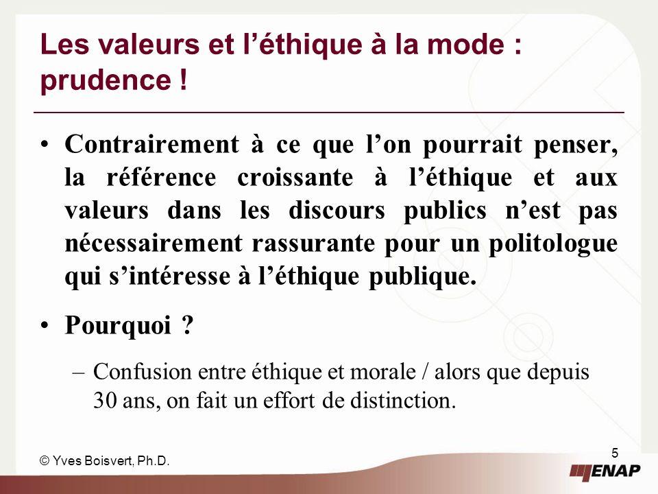 © Yves Boisvert, Ph.D.5 Les valeurs et léthique à la mode : prudence .
