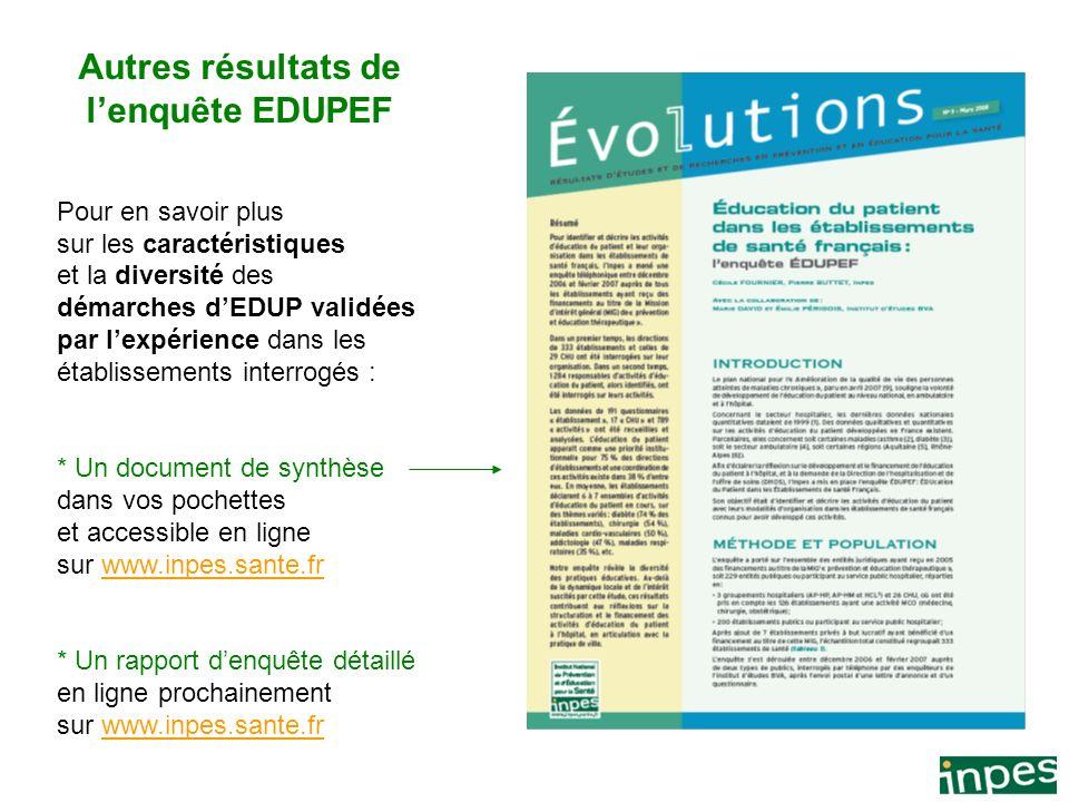 7 Document confidentiel Autres résultats de lenquête EDUPEF Pour en savoir plus sur les caractéristiques et la diversité des démarches dEDUP validées
