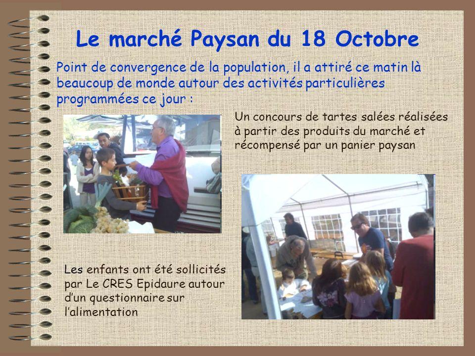 Premier point : Mieux se nourrir et bien vivre Le samedi 18 octobre, journée de lancement de notre action en deux lieux: Le marché paysan du matin Les