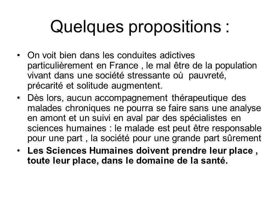 Quelques propositions : On voit bien dans les conduites adictives particulièrement en France, le mal être de la population vivant dans une société stressante où pauvreté, précarité et solitude augmentent.