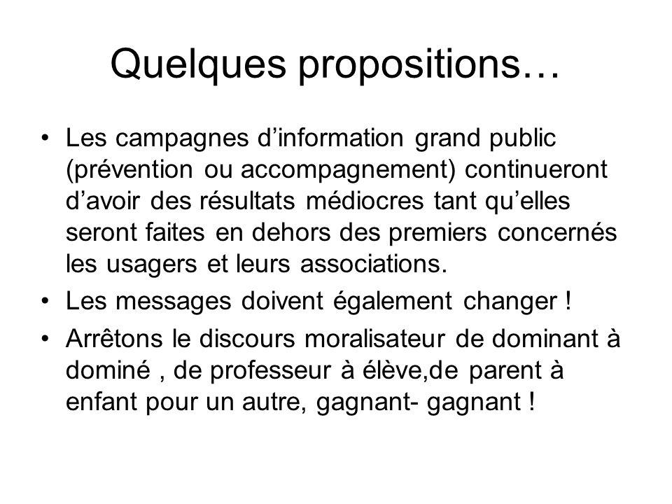 Quelques propositions… Les campagnes dinformation grand public (prévention ou accompagnement) continueront davoir des résultats médiocres tant quelles seront faites en dehors des premiers concernés les usagers et leurs associations.
