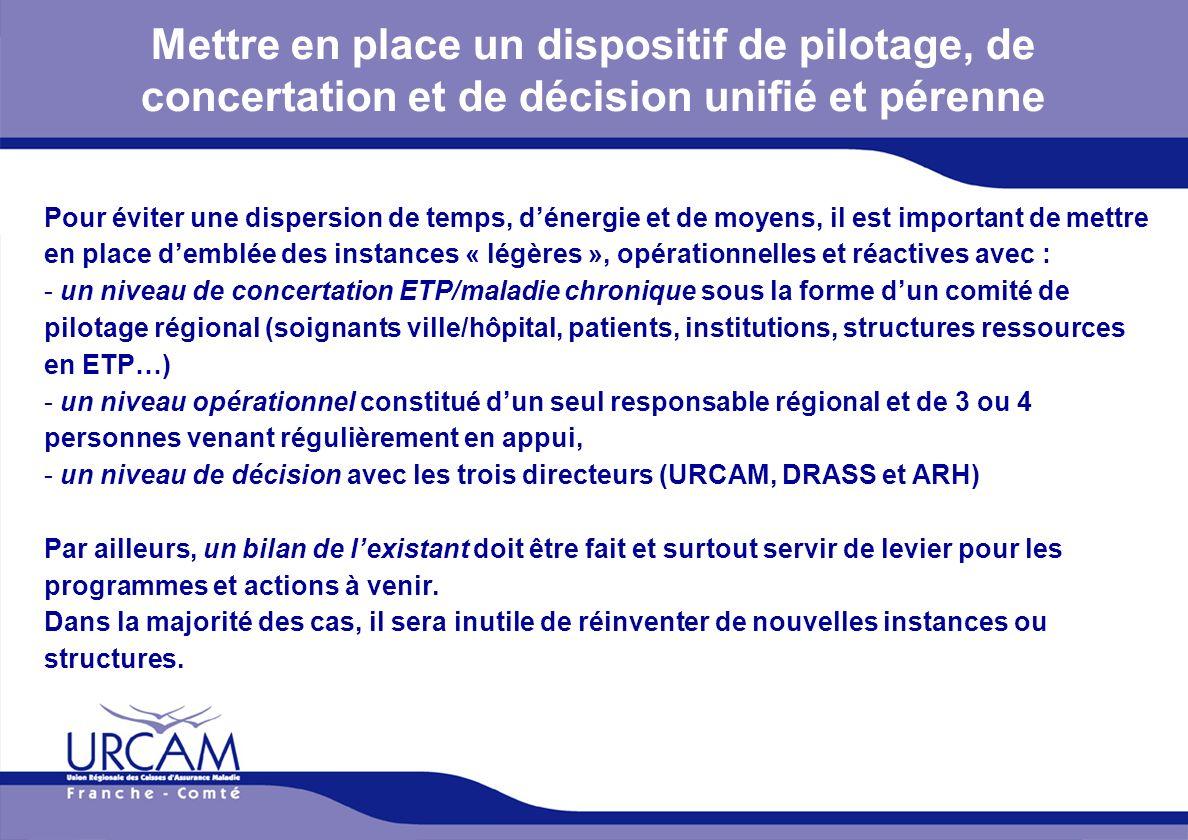 URCAM - 12/01/2014 Mettre en place un dispositif de pilotage, de concertation et de décision unifié et pérenne Pour éviter une dispersion de temps, dé