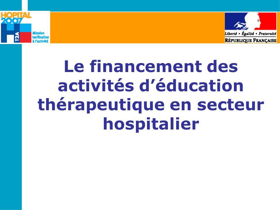 Le financement des activités déducation thérapeutique en secteur hospitalier
