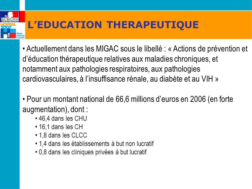 LEDUCATION THERAPEUTIQUE Actuellement dans les MIGAC sous le libellé : « Actions de prévention et déducation thérapeutique relatives aux maladies chro