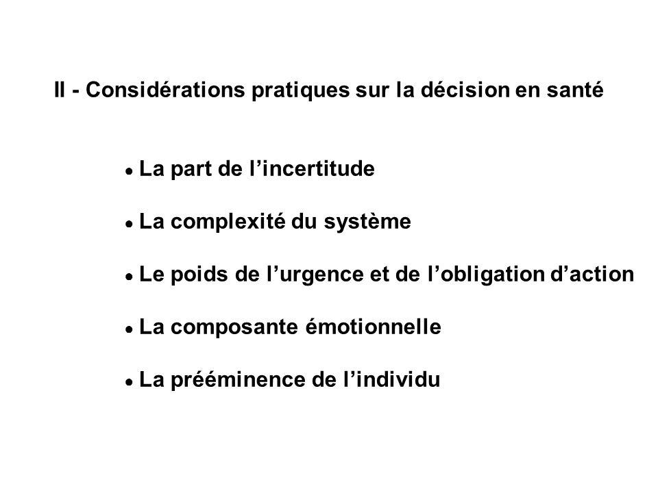 II - Considérations pratiques sur la décision en santé La part de lincertitude La complexité du système Le poids de lurgence et de lobligation daction La composante émotionnelle La prééminence de lindividu
