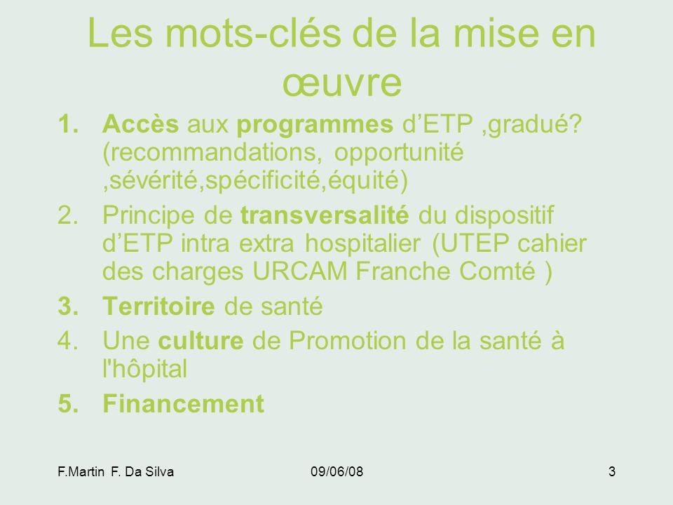 F.Martin F.Da Silva09/06/083 Les mots-clés de la mise en œuvre 1.Accès aux programmes dETP,gradué.
