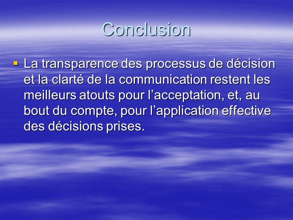 Conclusion La transparence des processus de décision et la clarté de la communication restent les meilleurs atouts pour lacceptation, et, au bout du compte, pour lapplication effective des décisions prises.