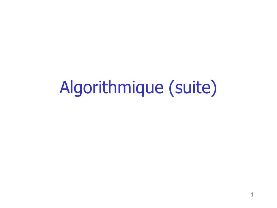 2 Rappel de ce qui a été vu Notion de variable (déclaration) Instructions –Affectation –Lecture Lire(variable) –EcritureEcrire(variable, valeur, ou expressions) Structures de contrôle –Condition simple Si … Finsi –Condition avec alternativeSi … Sinon … SinSinon –RépétitionTant que … FinTantQue Structure dun algorithme