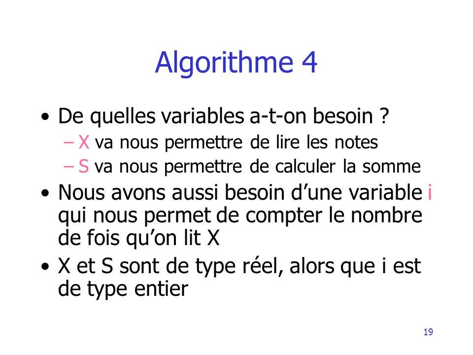 20 Algorithme 4 Algorithme exemple4 Variable X, S : réel Variable i : entier Début i 1initialisation de i S 0initialisation de S Tant que i 100 Lire (X) S S + X i i + 1 FinTantQue Ecrire (« la moyenne est », S/100) Fin