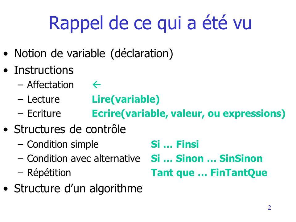 2 Rappel de ce qui a été vu Notion de variable (déclaration) Instructions –Affectation –Lecture Lire(variable) –EcritureEcrire(variable, valeur, ou ex