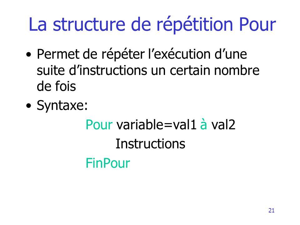 21 La structure de répétition Pour Permet de répéter lexécution dune suite dinstructions un certain nombre de fois Syntaxe: Pour variable=val1 à val2