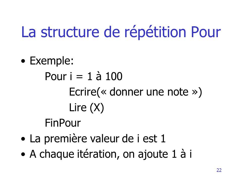 22 La structure de répétition Pour Exemple: Pour i = 1 à 100 Ecrire(« donner une note ») Lire (X) FinPour La première valeur de i est 1 A chaque itéra