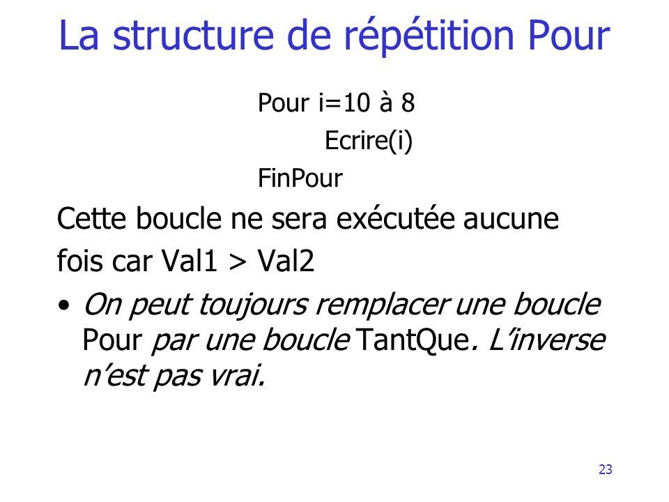 24 La structure de répétition Pour Algorithme exemple4 Variable X, S : réel Variable i : entier Début i 1initialisation de i S 0initialisation de S Tant que i 100 Pour i = 1 à 100 Lire (X) S S + X i i + 1 FinTantQue FinPour Ecrire (« la moyenne est », S/100) Fin