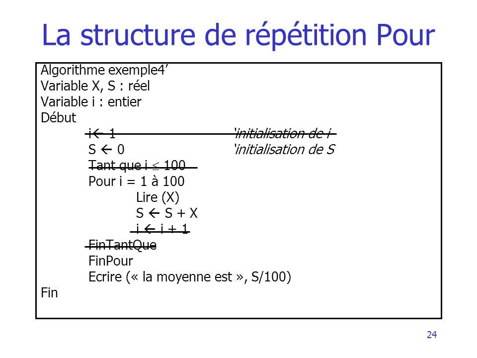 24 La structure de répétition Pour Algorithme exemple4 Variable X, S : réel Variable i : entier Début i 1initialisation de i S 0initialisation de S Ta