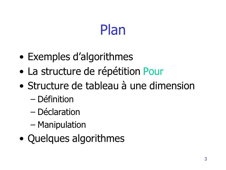 3 Plan Exemples dalgorithmes La structure de répétition Pour Structure de tableau à une dimension –Définition –Déclaration –Manipulation Quelques algo
