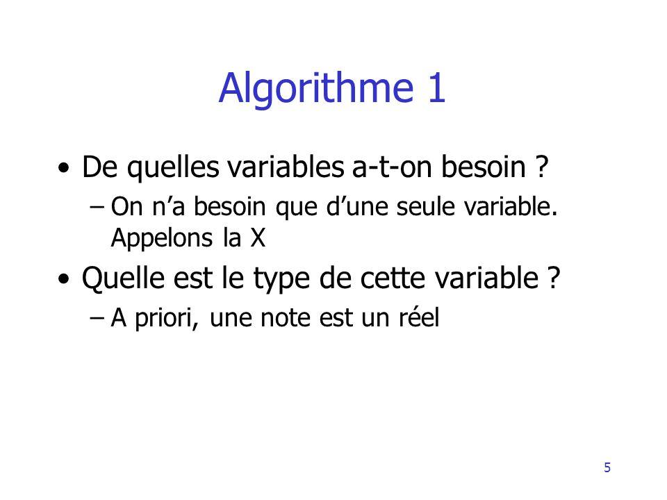 5 Algorithme 1 De quelles variables a-t-on besoin ? –On na besoin que dune seule variable. Appelons la X Quelle est le type de cette variable ? –A pri