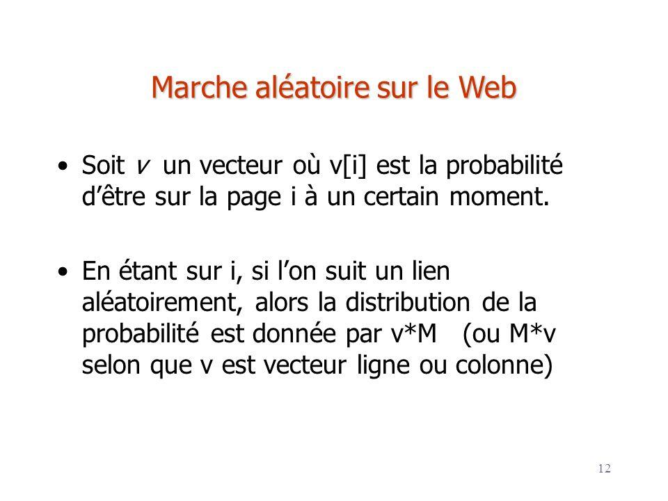12 Marche aléatoire sur le Web Soit v un vecteur où v[i] est la probabilité dêtre sur la page i à un certain moment. En étant sur i, si lon suit un li
