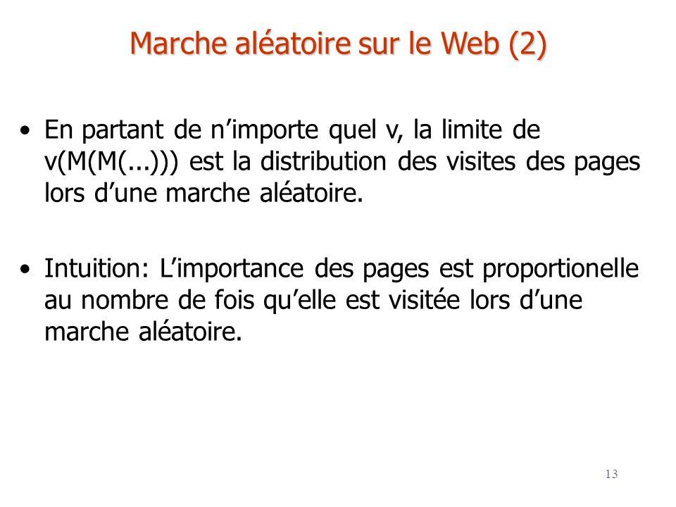 13 Marche aléatoire sur le Web (2) En partant de nimporte quel v, la limite de v(M(M(...))) est la distribution des visites des pages lors dune marche