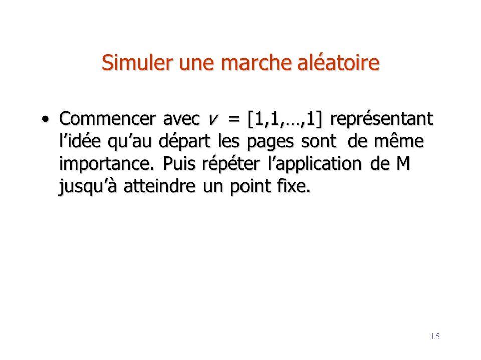 15 Simuler une marche aléatoire Commencer avec v = [1,1,…,1] représentant lidée quau départ les pages sont de même importance. Puis répéter lapplicati