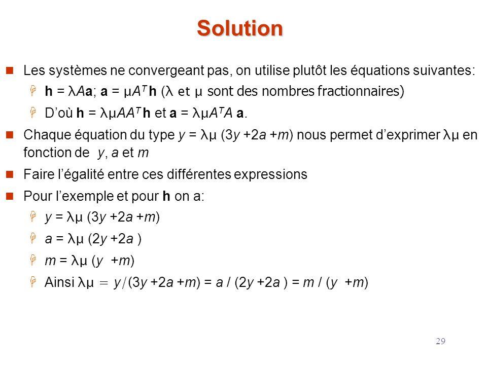 29 Solution Les systèmes ne convergeant pas, on utilise plutôt les équations suivantes: h = λ Aa; a = μ A T h ( λ et μ sont des nombres fractionnaires