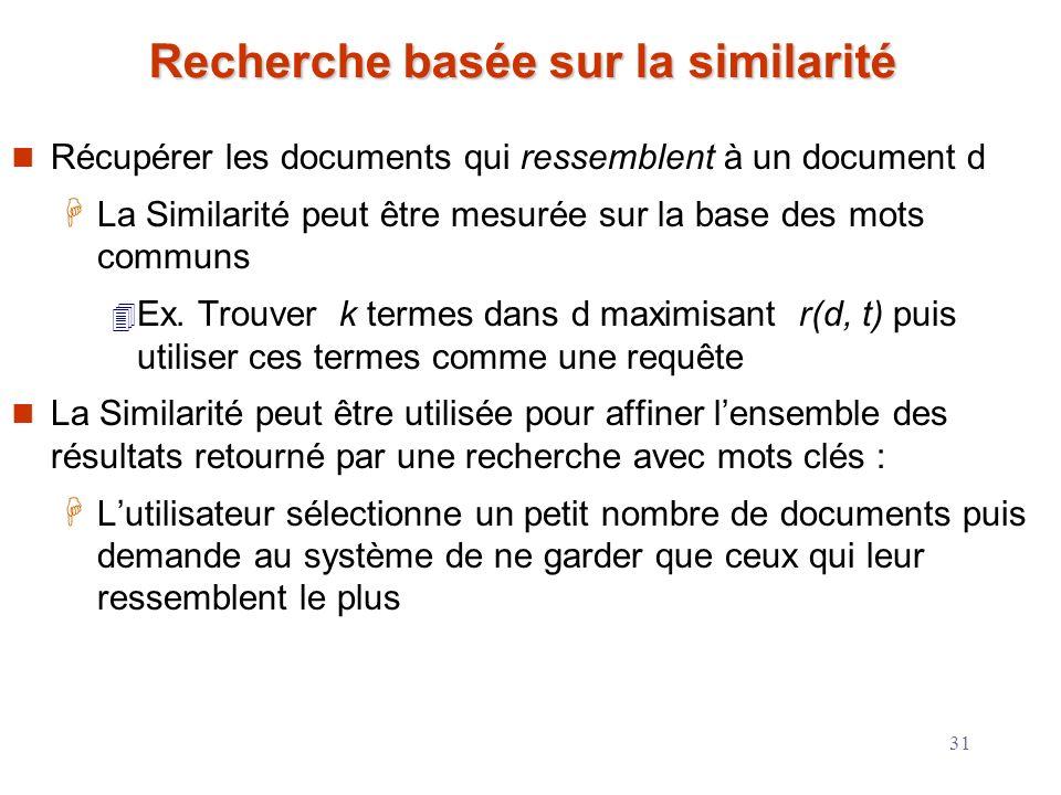 31 Recherche basée sur la similarité Récupérer les documents qui ressemblent à un document d La Similarité peut être mesurée sur la base des mots comm