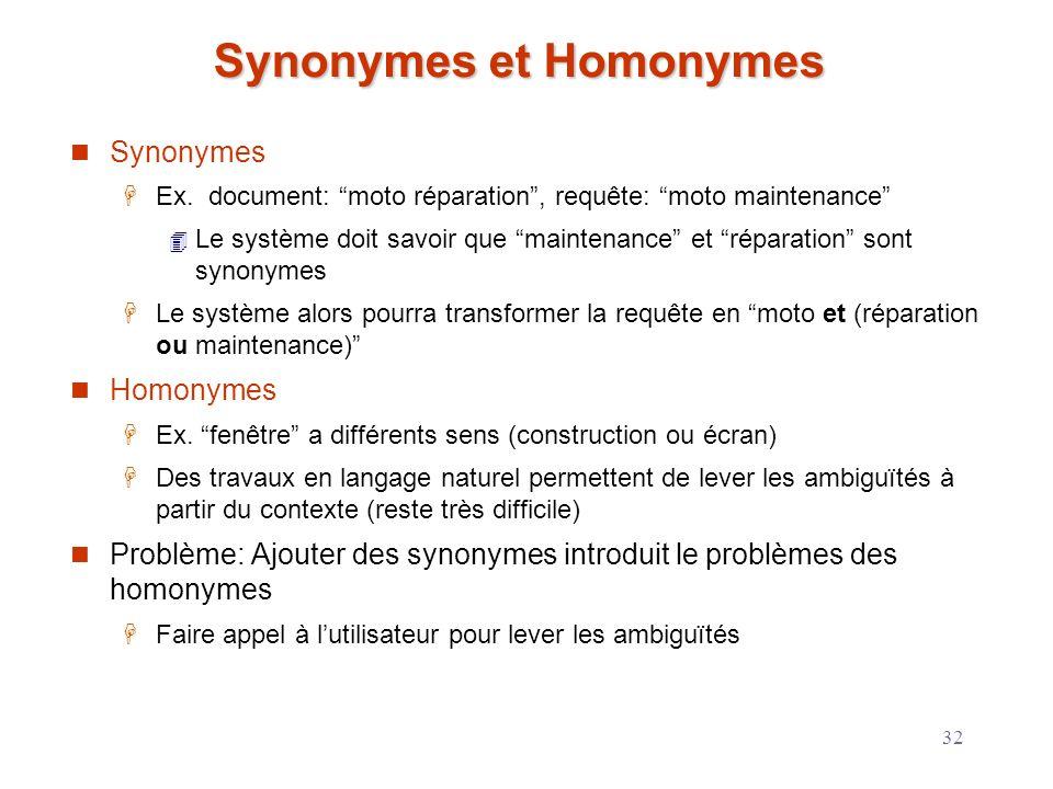 32 Synonymes et Homonymes Synonymes Ex. document: moto réparation, requête: moto maintenance Le système doit savoir que maintenance et réparation sont
