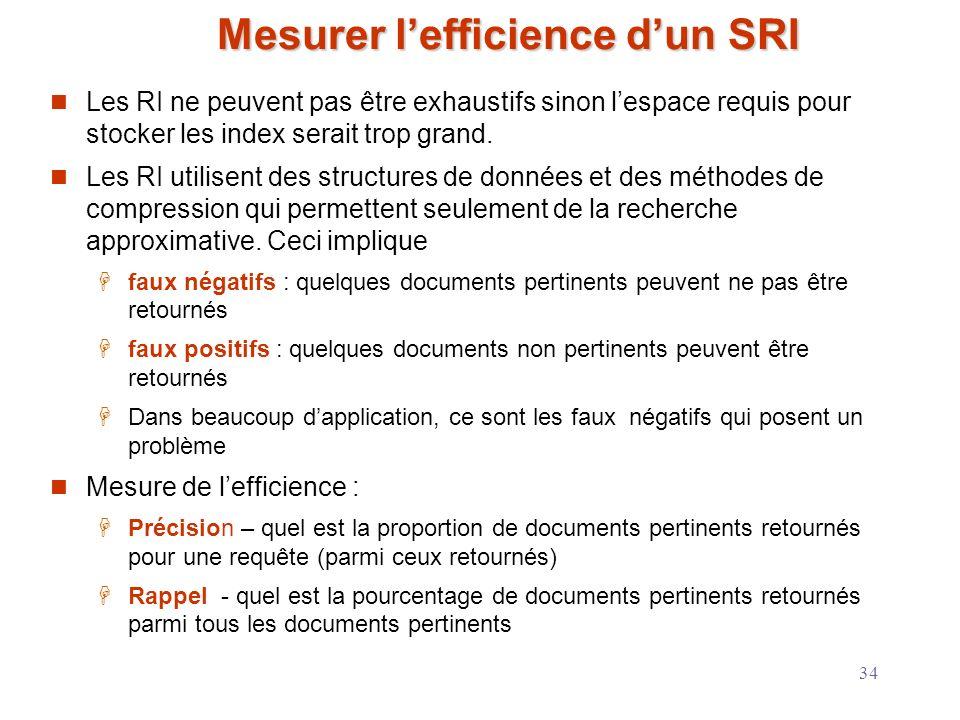 34 Mesurer lefficience dun SRI Les RI ne peuvent pas être exhaustifs sinon lespace requis pour stocker les index serait trop grand. Les RI utilisent d