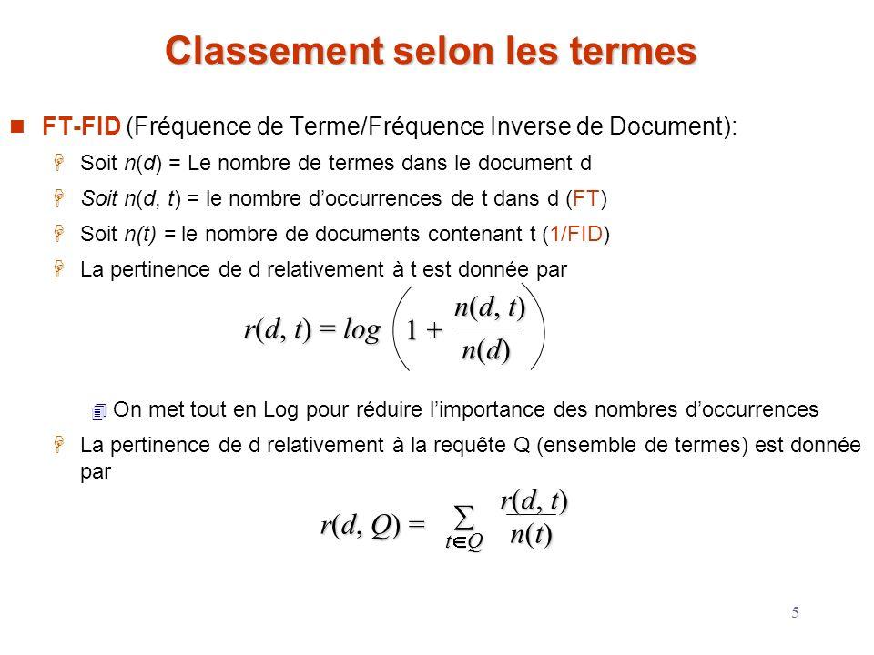5 Classement selon les termes FT-FID (Fréquence de Terme/Fréquence Inverse de Document): Soit n(d) = Le nombre de termes dans le document d Soit n(d,
