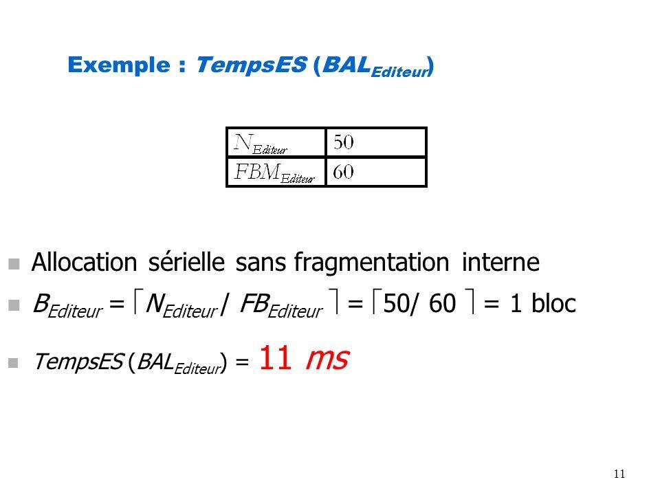 11 Exemple : TempsES (BAL Editeur ) n Allocation sérielle sans fragmentation interne n B Editeur = N Editeur / FB Editeur = 50/ 60 = 1 bloc n TempsES