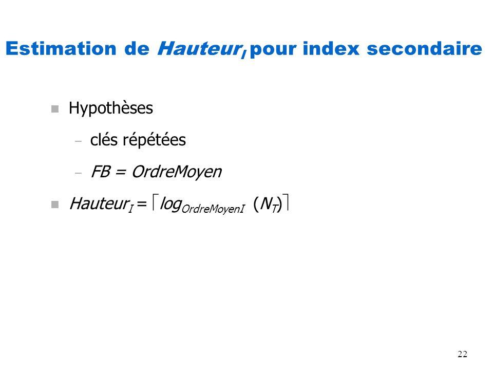 22 Estimation de Hauteur I pour index secondaire n Hypothèses – clés répétées – FB = OrdreMoyen n Hauteur I = log OrdreMoyenI (N T )