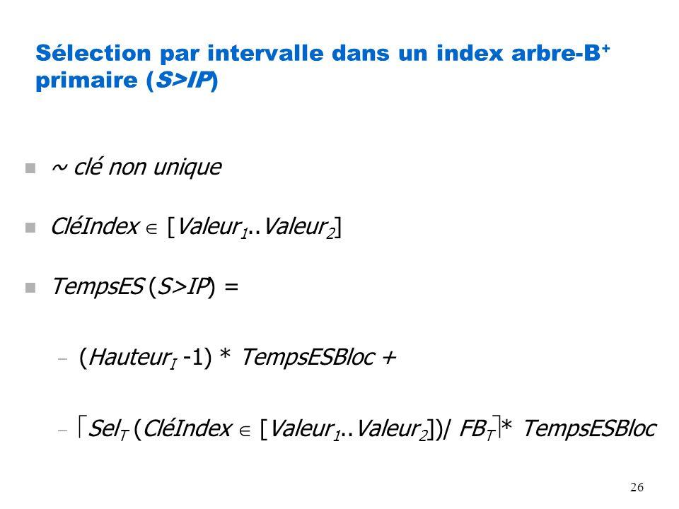 26 Sélection par intervalle dans un index arbre-B + primaire (S>IP) n ~ clé non unique n CléIndex [Valeur 1..Valeur 2 ] n TempsES (S>IP) = – (Hauteur