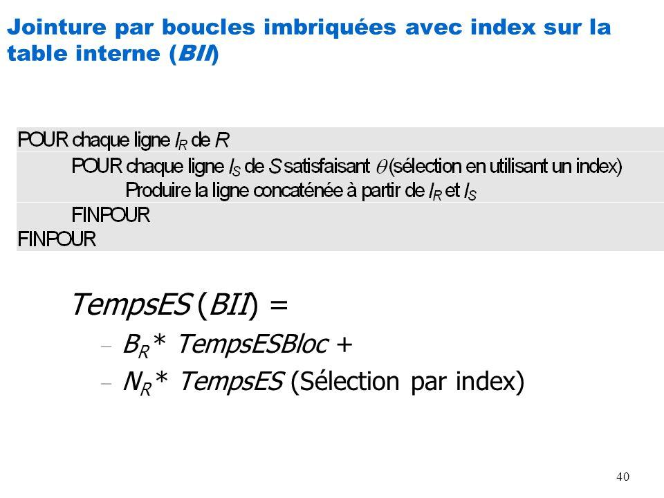 40 Jointure par boucles imbriquées avec index sur la table interne (BII) TempsES (BII) = – B R * TempsESBloc + – N R * TempsES (Sélection par index)