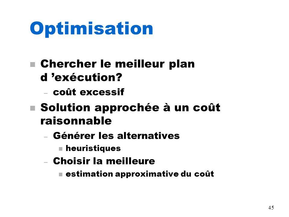 45 Optimisation n Chercher le meilleur plan d exécution? – coût excessif n Solution approchée à un coût raisonnable – Générer les alternatives n heuri